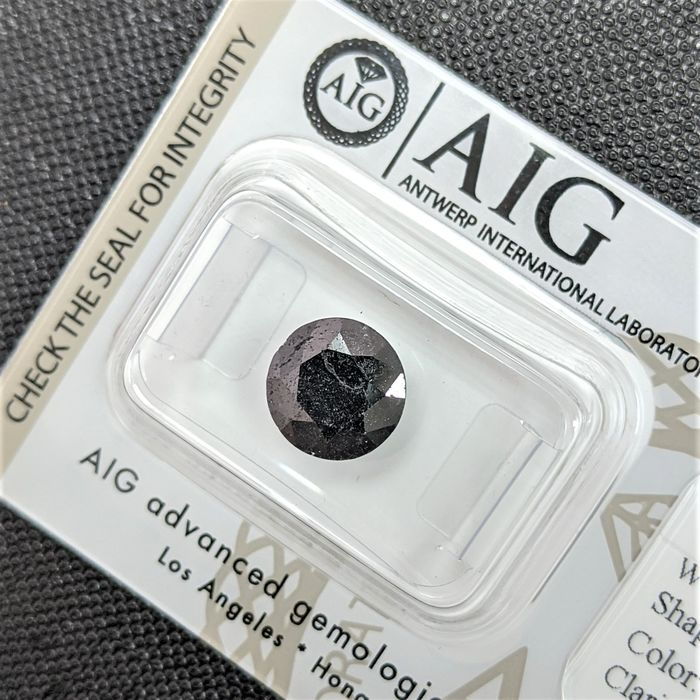 Diamant - 1.97 ct - Brillant - Couleur traitée - fancy black - No Reserve Price