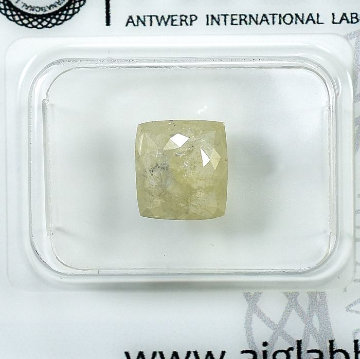 Diamant - 1.42 ct - Coussin - Natural Fancy Yellowish Gray - I3 - NO RESERVE PRICE