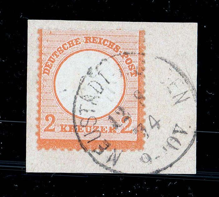 Império Alemão 1872 - 2 kreuzers, large breast shield, fragment, Sommer photo certificate, flawless state of conservation - Michel 24