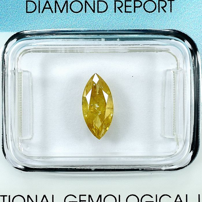 Diamant - 1.01 ct - Marquise - Natural Fancy Yellow - I1