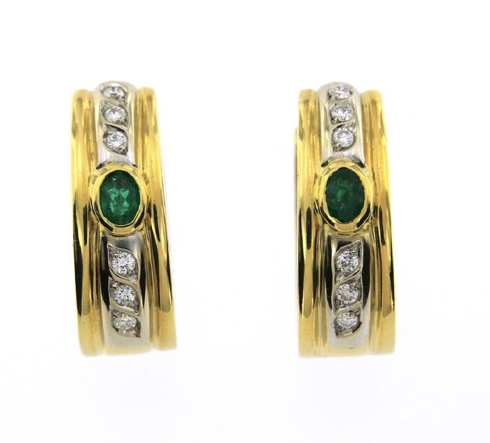 18 quilates Oro amarillo - Pendientes - 0.50 ct Esmeralda - Diamantes