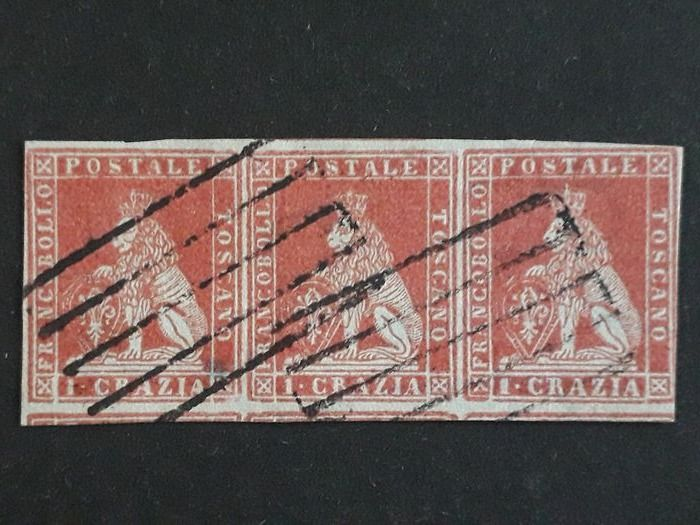 toscane 1851 - 1 cr. light carmine on grey, horizontal strip of three with Livorno cancellation with bars - Sassone N. 4