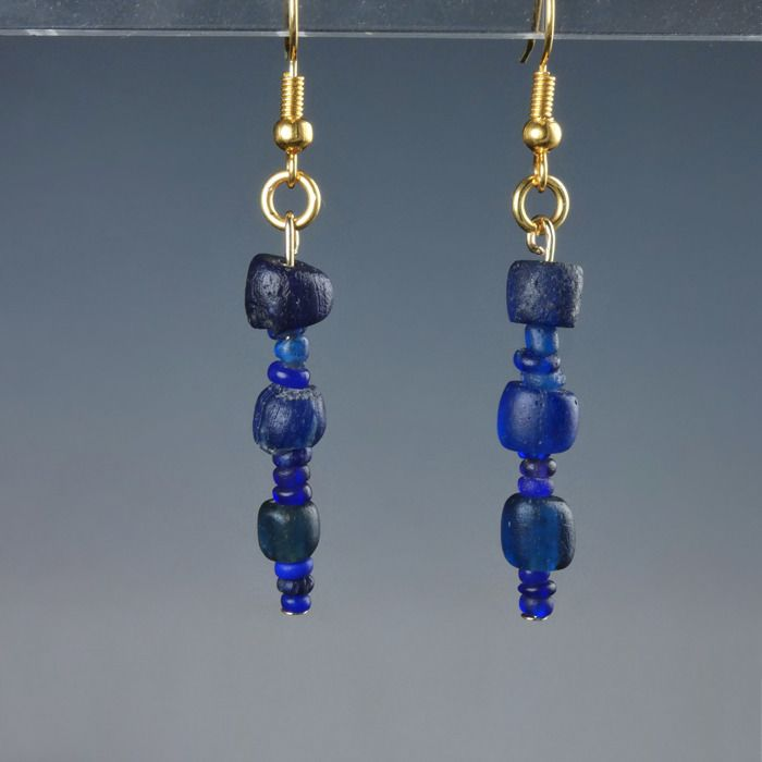Ancient Roman Glass Earrings with blue glass beads - (1)