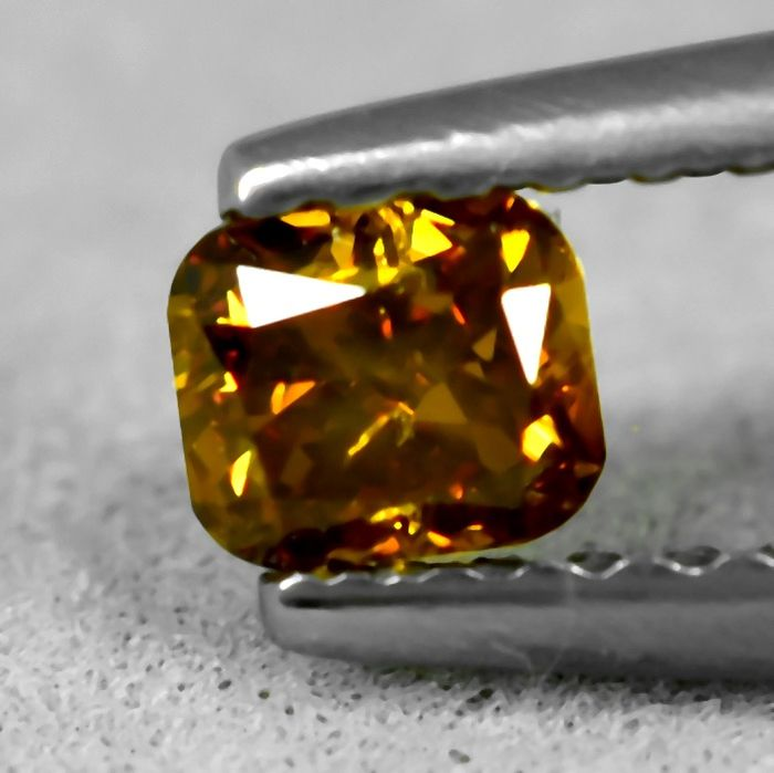 Diamant - 0.24 ct - Coussin - Natural Fancy Deep Yellow Orange - Si1 - NO RESERVE PRICE