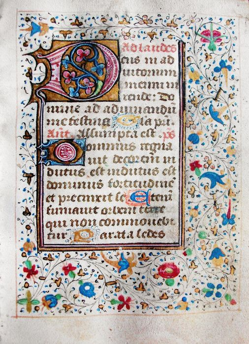 Manuscript; One illuminated sheet from a book of hours on vellum - XV century