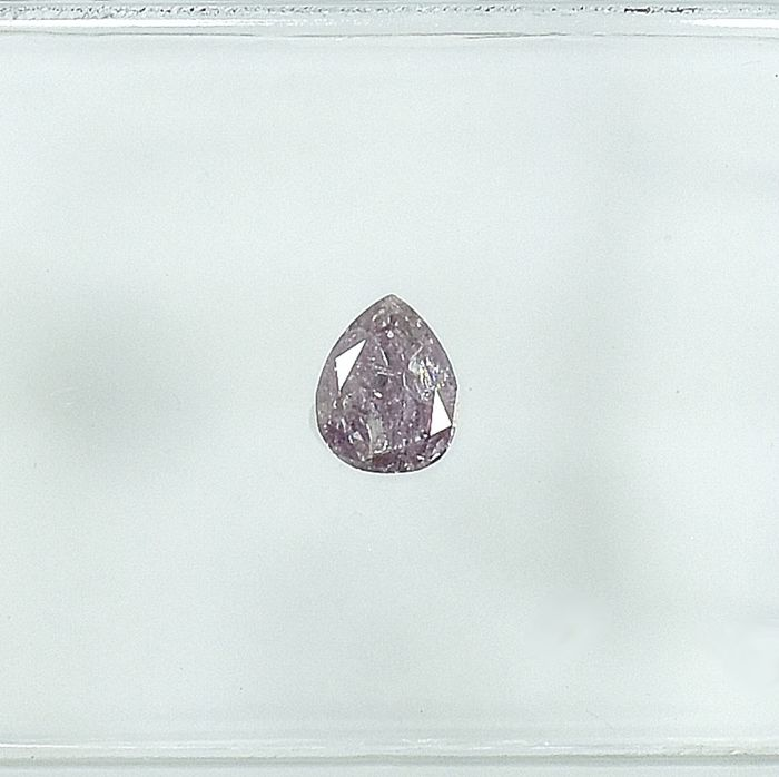 Diamant - 0.17 ct - Poire - Natural Fancy Intense Pink - I2 - NO RESERVE PRICE