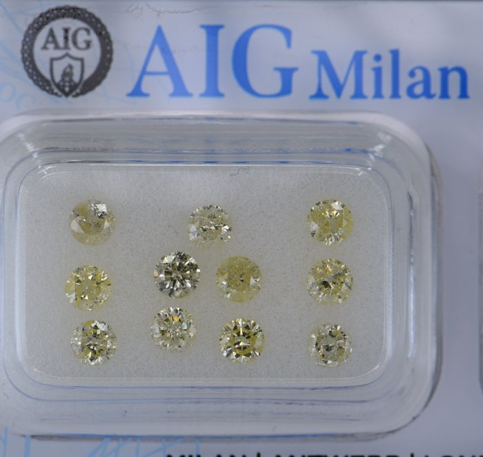 11 pcs Diamant - 1.48 ct - Rond - light yellow - I3 (piqué), No Reserve Price!