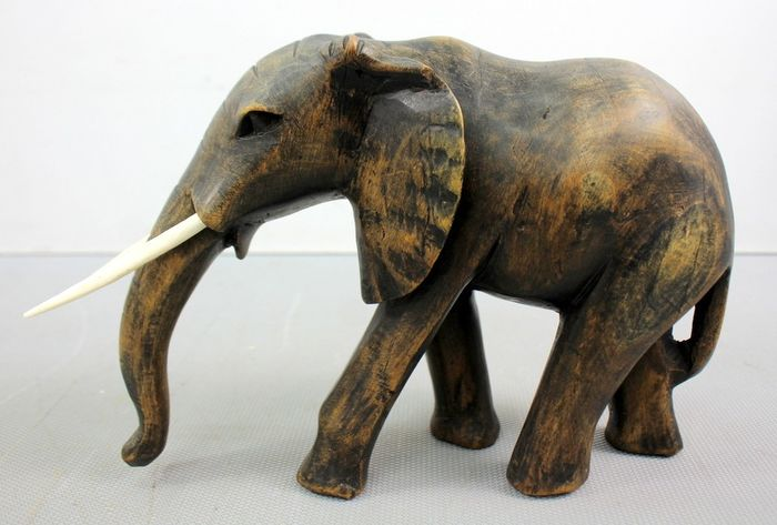 An Antique Hand Carved Statue Of Elephant Bone Wood Catawiki