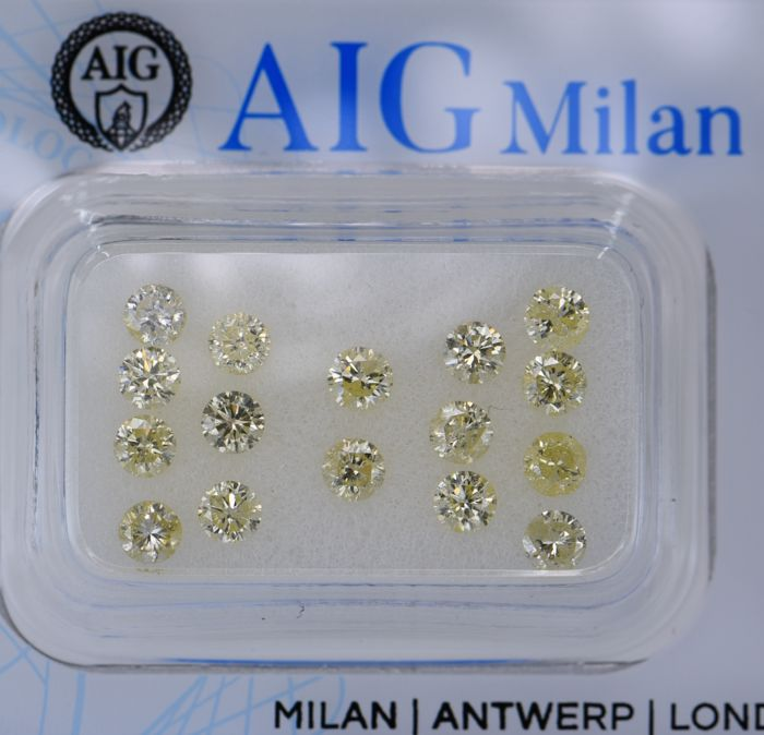 16 pcs Diamante - 1.63 ct - Redondo - light yellow - I3 (piqué), SI1, No Reserve Price!