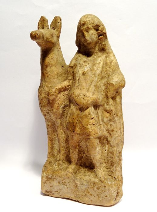 Ancient Roman Terracotta statuette of a shepherd and his donkey - 1st / 2nd century AD - rare iconography! - 12.5×6.3×4.5 cm