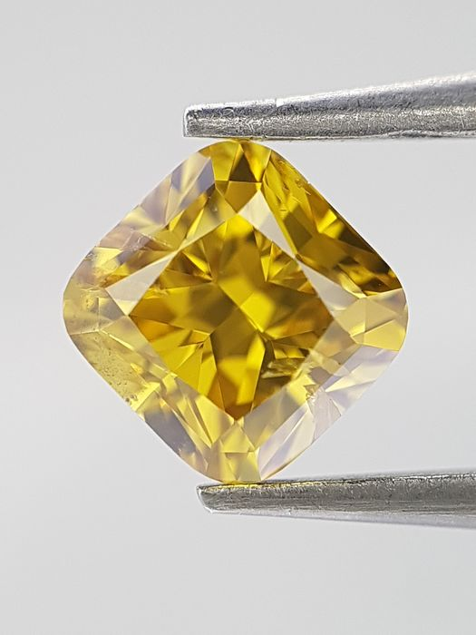 Diamant - 0.71 ct - Cushion - Natural - fancy deep brownish yellow - SI2, GIA Colored Certified
