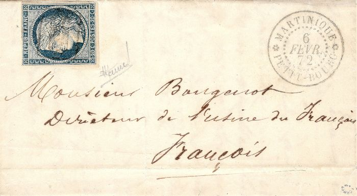 France - Colonies (general issues) 1872 - Exceptional postmark made by the postman. The only known copy. - Yvert n°12
