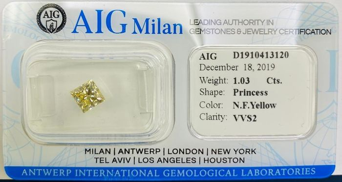 1 pcs Diamant - 1.03 ct - Prinzess - Natural Fancy Yellow - fancy yellow - VVS2