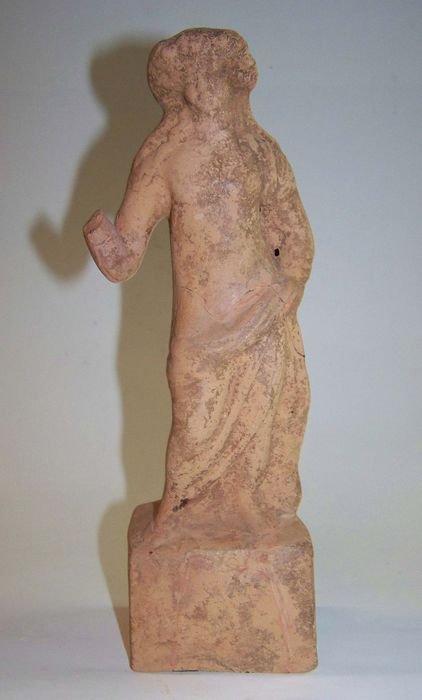 Ancient Roman Earthenware Statue of a youth (the god Dionysos - Bacchus?) - 6×9.5×25.9 cm - (1)