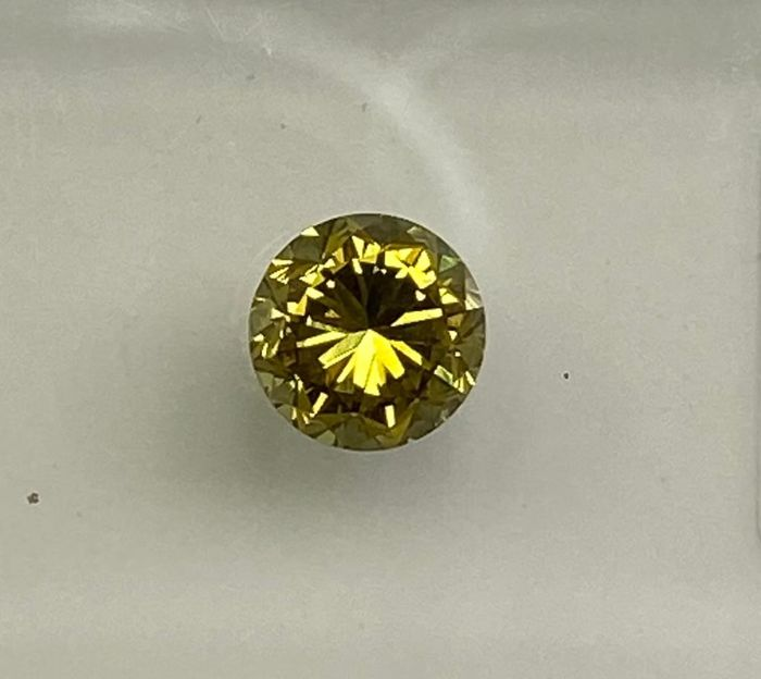 1 pcs Diamante - 0.34 ct - Redondo - Natural Fancy Vivid Greenish Yellow - VS1