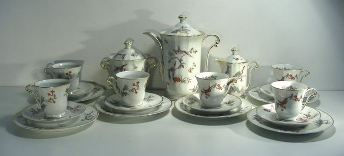Bernardaud Limoges - Koffieservies (6 pers) Décor Condé - Regency - Porselein