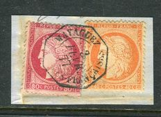 Francia 1877 - Very rare Mayaguez Consulate of Puerto Rico  postmark on the No. 38 & 57 stamps