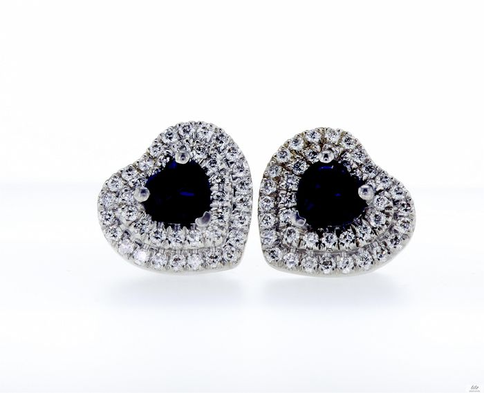 Lilo Diamonds - AIG Certificate - 14 carats Or blanc - Boucles d'oreilles - 1.18 ct Saphir - Diamant