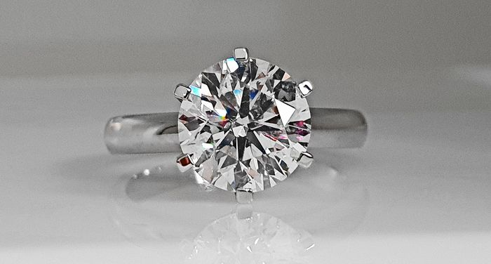 14 kt. White gold - Ring - Clarity enhanced 2.81 ct Diamond