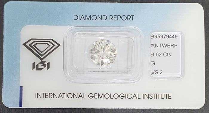 Diamante - 3.62 ct - Redondo - G - VS2