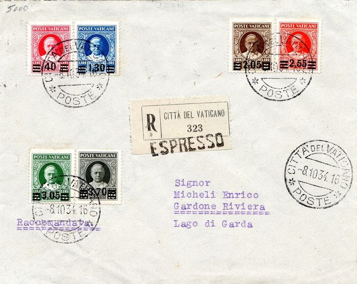 Vaticaanstad 1934 - Express registered mail with provisional set, first issue - Sassone NN. 35/40