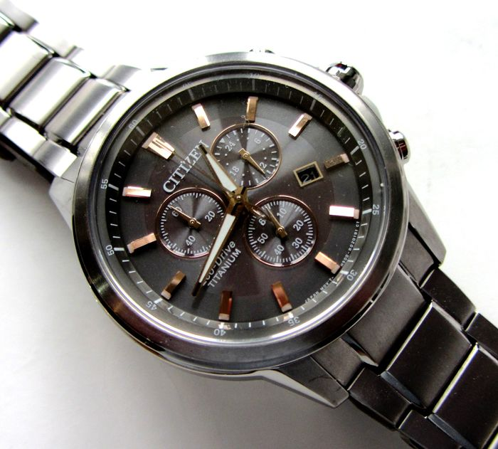 "Citizen - ""NO RESERVE PRICE"" Eco Drive 1s Chronograph 42mm Rose Gold Markers - AT2340-56H / H500-R006479 - Homme - 2011-aujourd'hui"