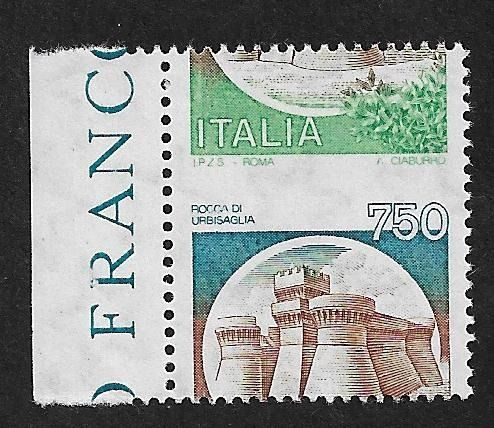 Italien 1980/1992 - Republic, Castles of Italy L. 750 with shifted perforation, new with intact gum. - CEI 1543 Ab