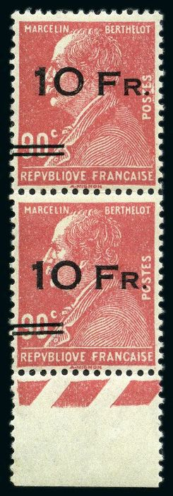 Francia 1928 - Berthelot, 10 francs on 90 centimes red, pair, spaced overprint tenant to not spaced - Yvert Poste aérienne 3d