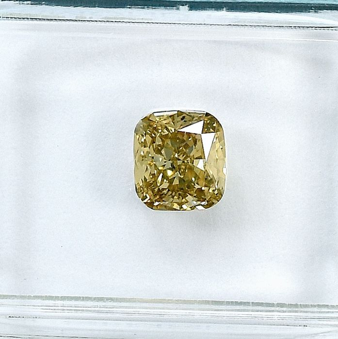 Diamant - 1.00 ct - Cushion - Natural Fancy Light Brownish Yellow - SI1