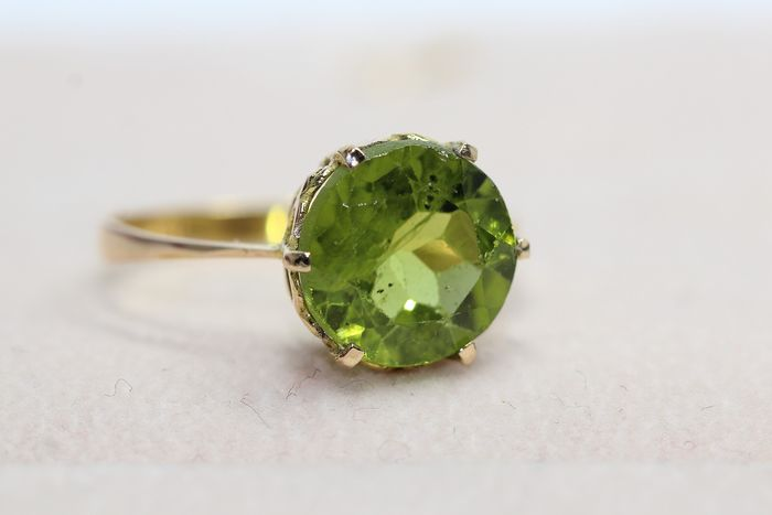 18 kt. Yellow gold - Ring - 3.00 ct peridot