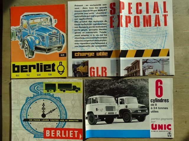 Brochures / Catalogues - BERLIET & UNIC French trucks - Berliet GLC, GLR, TLC, TLR, GPO, Dumpers, Stradair, etc & UNIC 6 cylindres, etc - 1958-1968