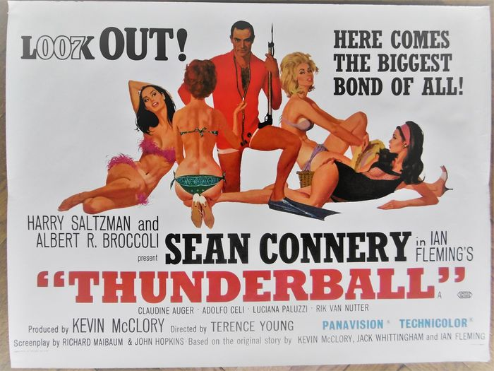 James Bond - Sean Connery - Póster 007 - Thunderball - British Quad - re-release