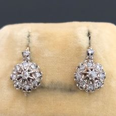 18 carats poinçon cheval Argent, Or rose - Earrings old sleepers - 0.42 ct Diamant