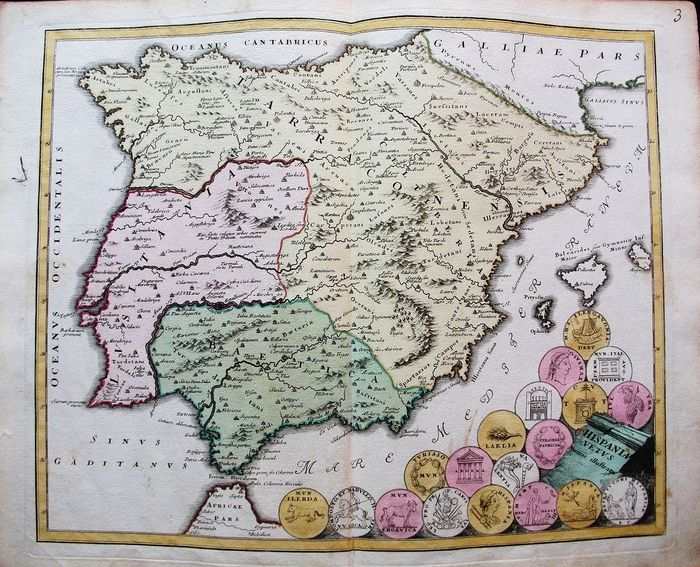 Espagne, Portugal, Balearic Isles, Ibiza, Madrid, Barcelona, Lisbon; Christopher Weigel & David Kohler - Hispania Vetus Numis Illustrata - 1701-1720