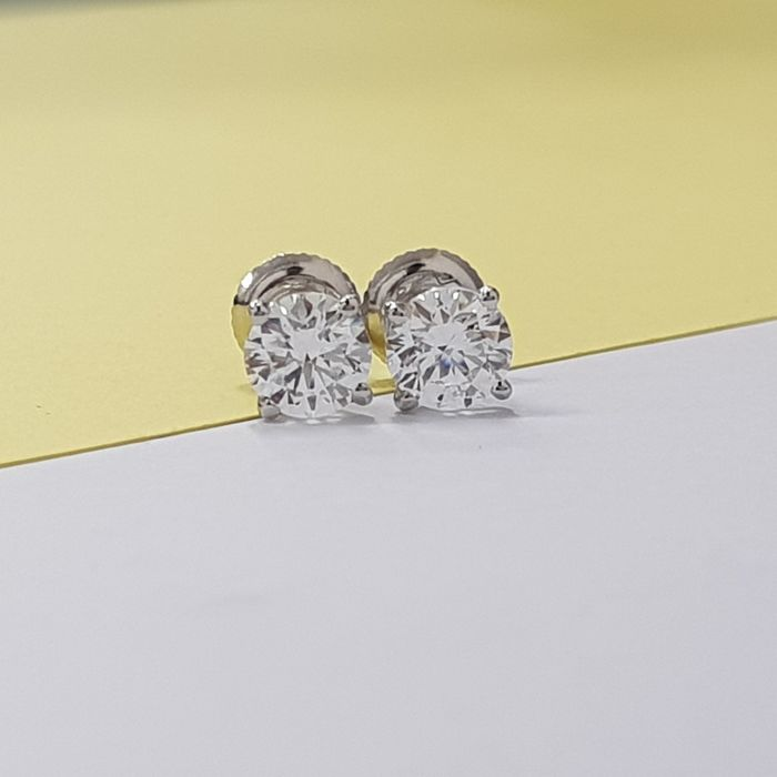 14 quilates Oro blanco - Pendientes - 0.65 ct Diamante