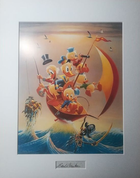 Carl Barks, matted print with signature insert - Sailing the Spanish Main - De outros - (1982)