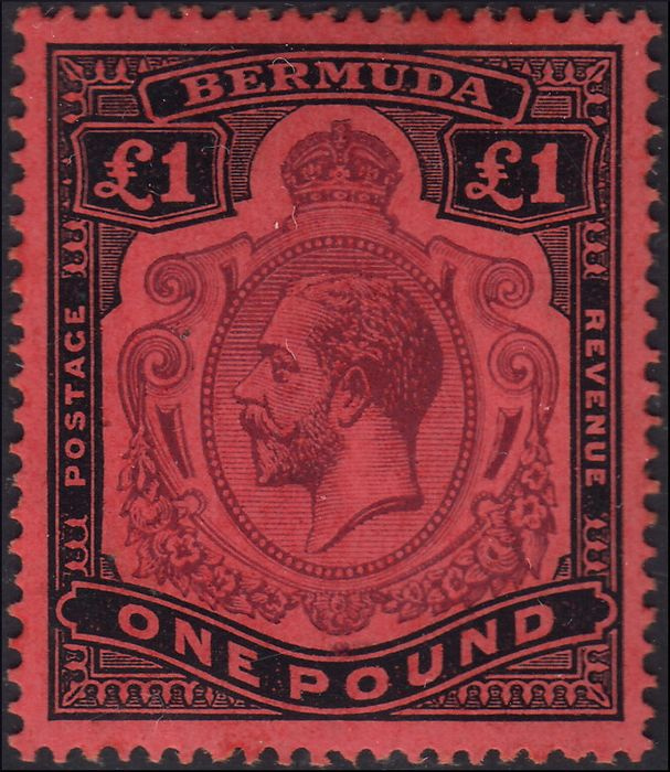 Commonwealth britannique 1920 - Bermuda (English colonies) £ 1 black and lilac on red paper. - Yvert N. 52