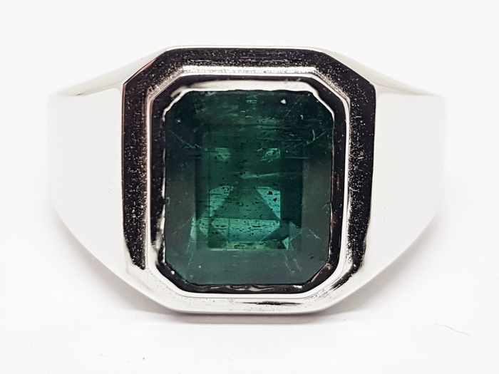 18 kt. White gold - Ring - 5.45 ct Emerald
