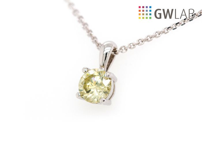 14 carats Or blanc - Collier et pendentif - 0.30 ct Diamant - Light Green Yellow - SI2 - No Reserve Price