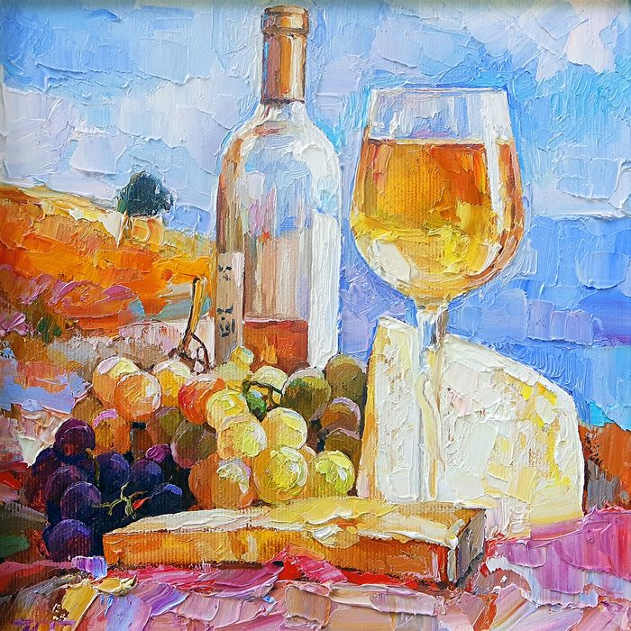 Mariia Bobyreva - Still life : cheese and wine