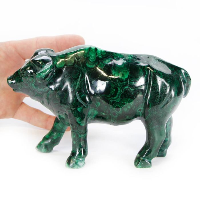 Toro Malachite Ornamental Sculpture sculpture - 160×115×50 mm - 1258 g