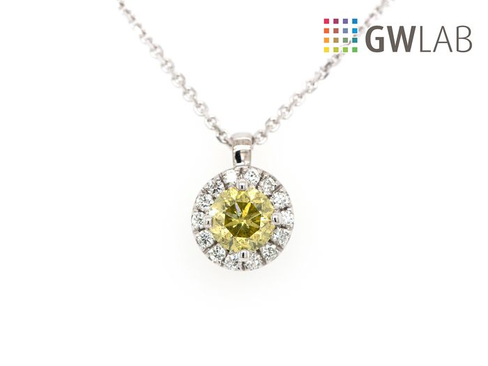14 carats Or blanc - Collier et pendentif - 0.41 ct Diamant - Fancy Intense Greenish Yellow - SI2 - No Reserve Price
