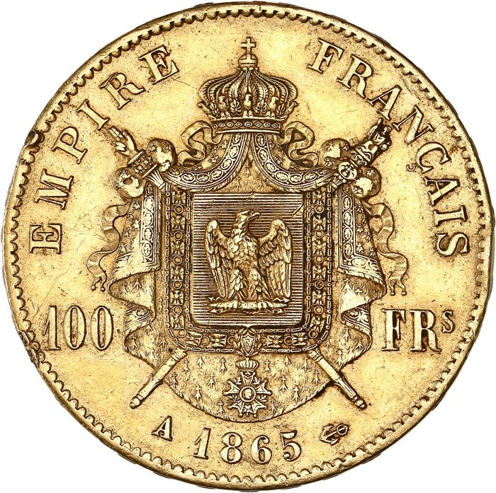 100 Francs 1865-A Napoléon III - Or