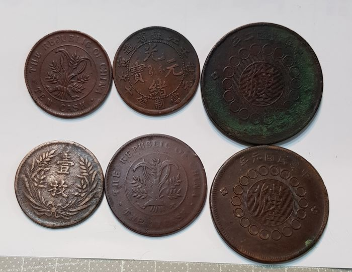 Chine - Lot of 6 copper coins (19-20th Century)  - Cuivre