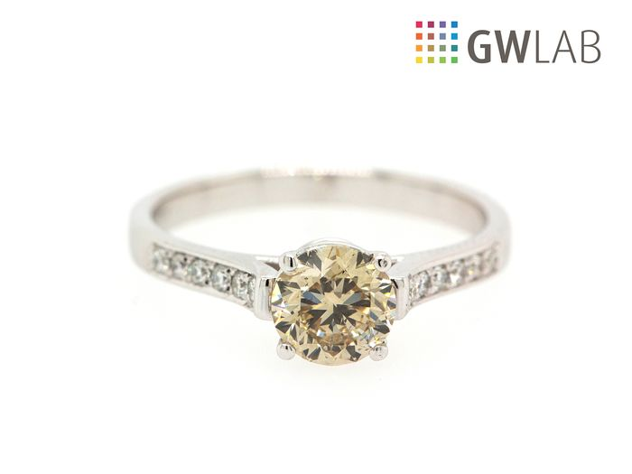 14 carats Or blanc - Bague - 1.02 ct Diamant - Fancy Light Brown Yellow - SI1 - No Reserve Price