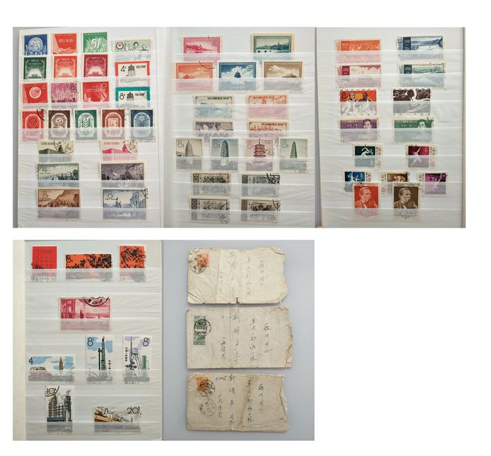 China - República popular desde 1949 1950/1967 - Group of stamps, 20 complete sets CTO/used and 3 circulated envelopes
