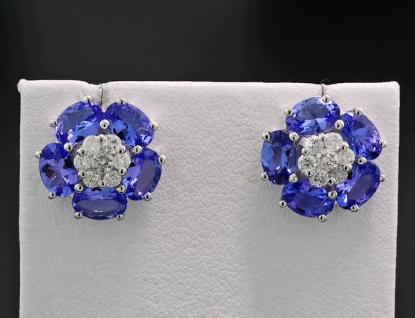 18 carats Or blanc - Boucles d'oreilles - 3.70 ct Clous de diamant tanzanite total 4,20 carats * PAS DE PRIX MINIMUM *