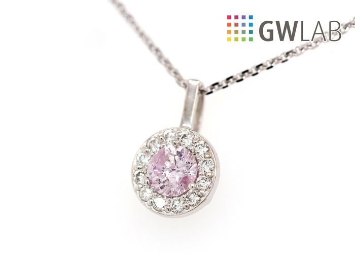 14 carats Or blanc - Collier et pendentif - 0.28 ct Diamant - Faint Pink - No Reserve Price