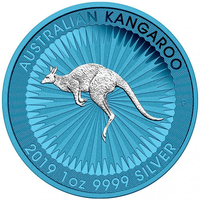 Australië - 1 Dollar 2019 Perth Mint Känguru Space Blue Edition - Zilver