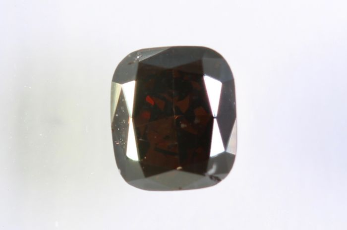 Diamant - 0.34 ct - Coussin -  Fancy Dark Orangy Brown -  SI1 - * NO RESERVE PRICE *